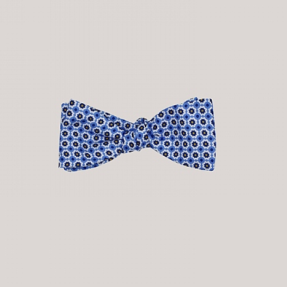 Blue Mosaic Printed Silk Bow Tie
