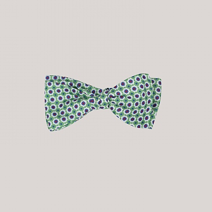 Green Mosaic Printed Silk Bow Tie