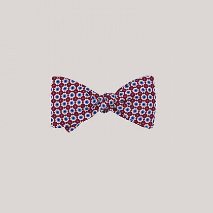 Red Mosaic Printed Silk Bow Tie
