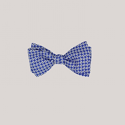 Blue Daisy Printed Silk Bow Tie