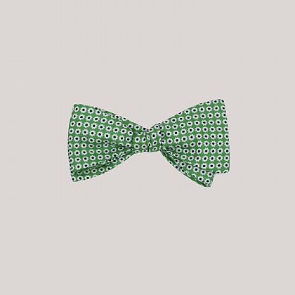 Green Daisy Printed Silk Bow Tie