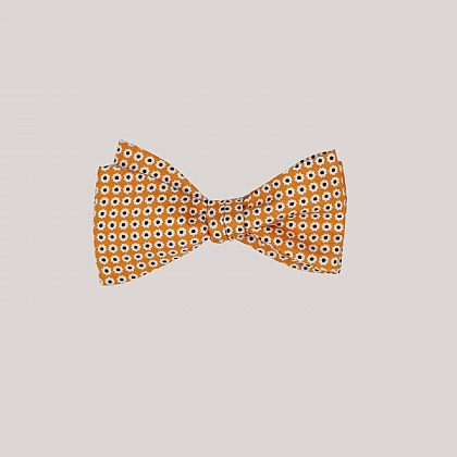 Orange Daisy Printed Silk Bow Tie