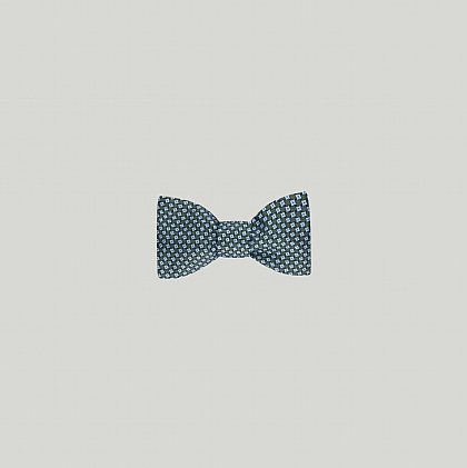 Green and Blue Geometric Printed Silk Bow Tie