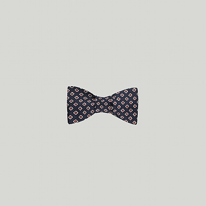 Navy and Red Squares Printed Silk Bow Tie