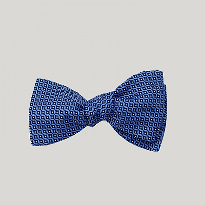 Blue Vertical Diamond Silk Bow Tie