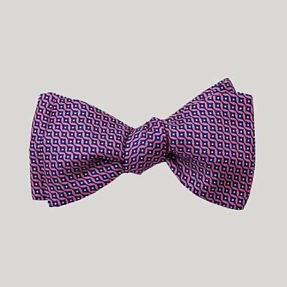 Pink Vertical Diamond Silk Bow Tie