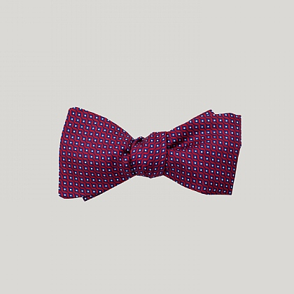 Red Vertical Diamond Silk Bow Tie
