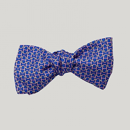 Blue Chain Links Silk Bow Tie