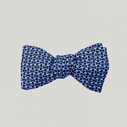 Navy Chain Links Silk Bow Tie