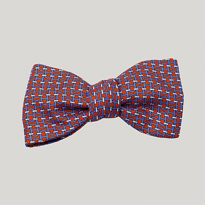 Red Chain Links Silk Bow Tie