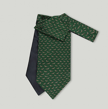 Green Dachshund Printed Silk Cravat