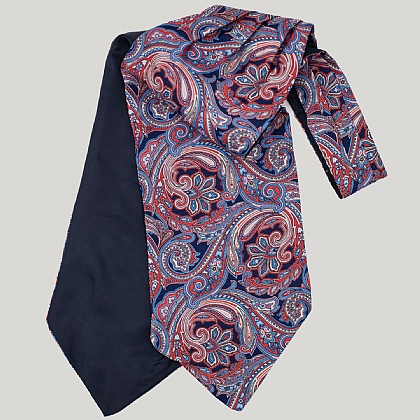Navy and Pink Large Paisley Silk Cravat