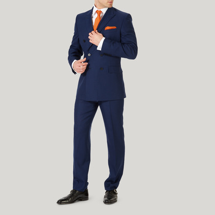 Blue Plain Weave Double Breasted Classic Fit Suit