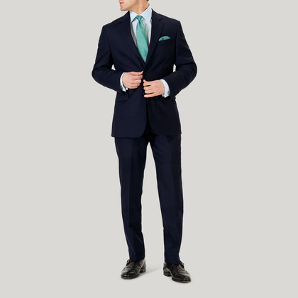Navy Plain Wool Contemporary Fit Suit